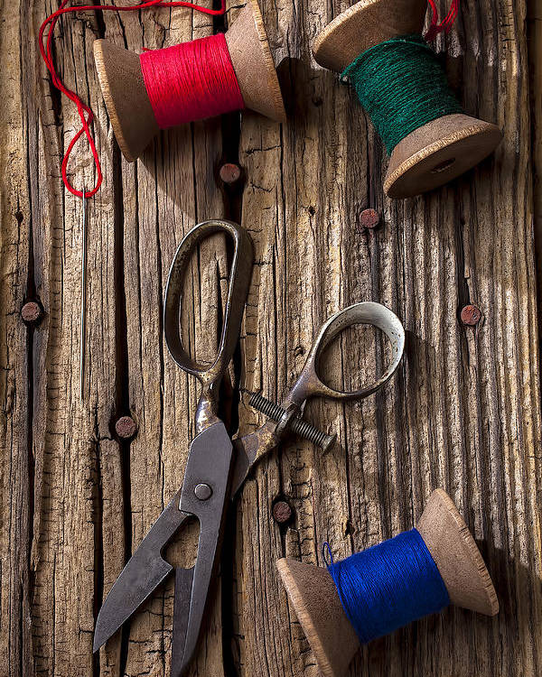 Old Scissors Poster featuring the photograph Old Scissors And Spools Of Thread by Garry Gay