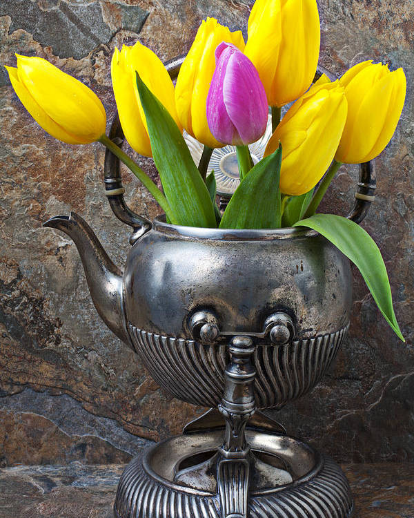 Old Tea Pot Poster featuring the photograph Old Tea Pot And Tulips by Garry Gay