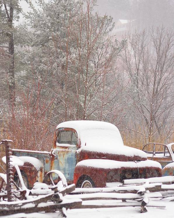 Old Truck Poster featuring the photograph Old Truck Covered In Snow by Martina Schmidt