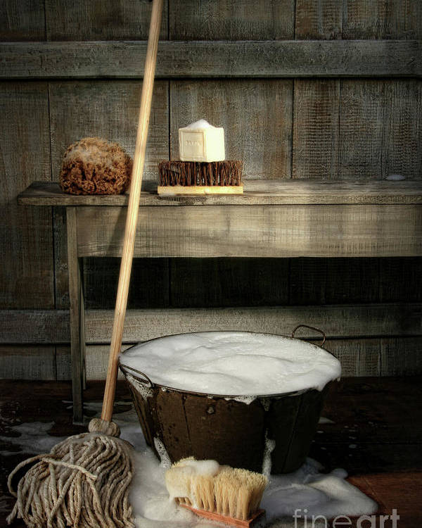 Antique Poster featuring the photograph Old Wash Bucket With Mop And Brushes by Sandra Cunningham