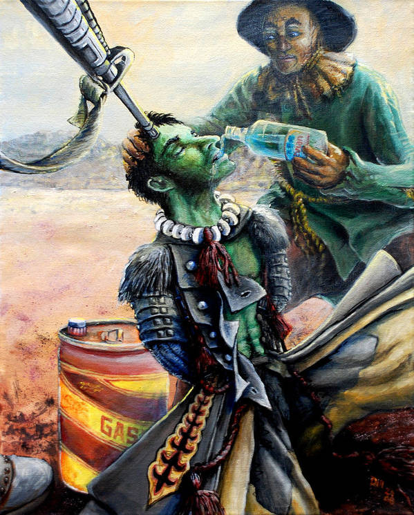 Winkie Guard Wizard Of Oz Scarecrow Tin Man Blood For Oil Iraqi Freedom Water Drink Desert Gas Gasoline Drinking H2o Poster featuring the painting Operation Winkie Freedom by Rust Dill
