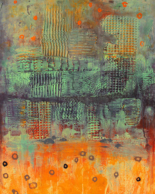 Orange Poster featuring the painting Orange abstract by Lolita Bronzini