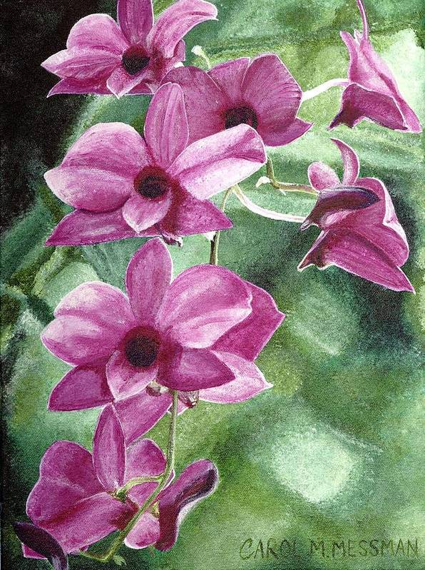 Orchid Poster featuring the painting Orchid In The Shadows by Carol Messman Steele