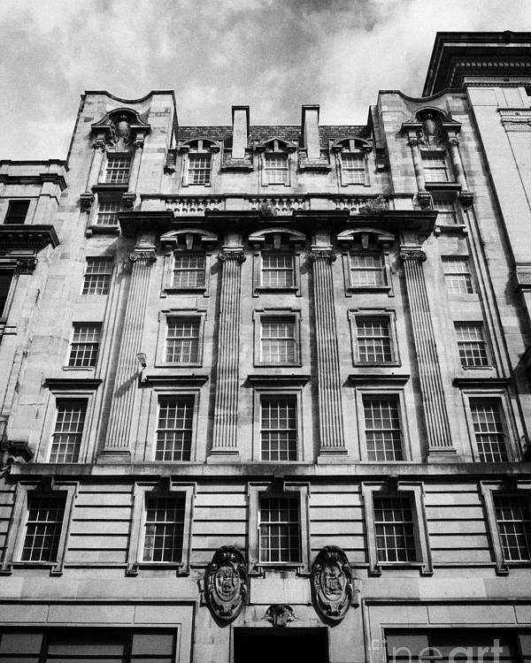 Refurbished Poster featuring the photograph Ornate Facade Of 124 St Vincent Street Refurbished Into Modern Office Space Glasgow Scotland Uk by Joe Fox
