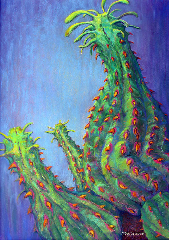 Cactus Poster featuring the pastel Ouch by Tanja Ware