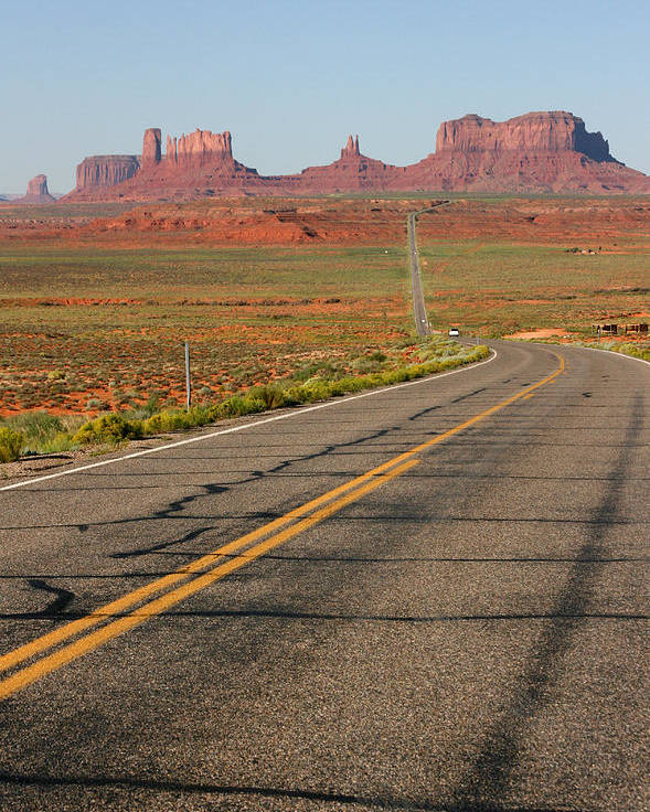 Amerique Poster featuring the photograph ouest USA route monument valley road by Audrey Campion