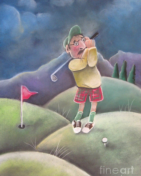 Golf Poster featuring the pastel Out On The Course by Caroline Peacock