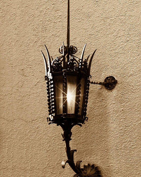 Lighting Poster featuring the photograph Outdoor Wall Lamp Dark Sepia by Linda Phelps