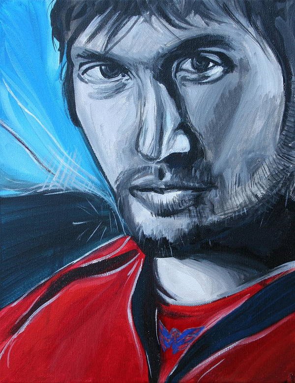 Alex Ovechkin Poster featuring the painting Ovechkin by Kate Fortin