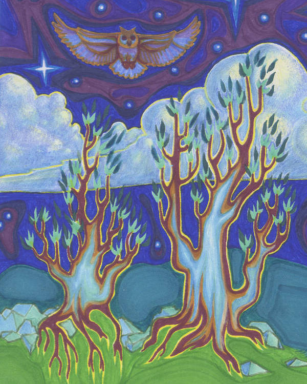 Trees Poster featuring the painting Owl Sky by James Davidson