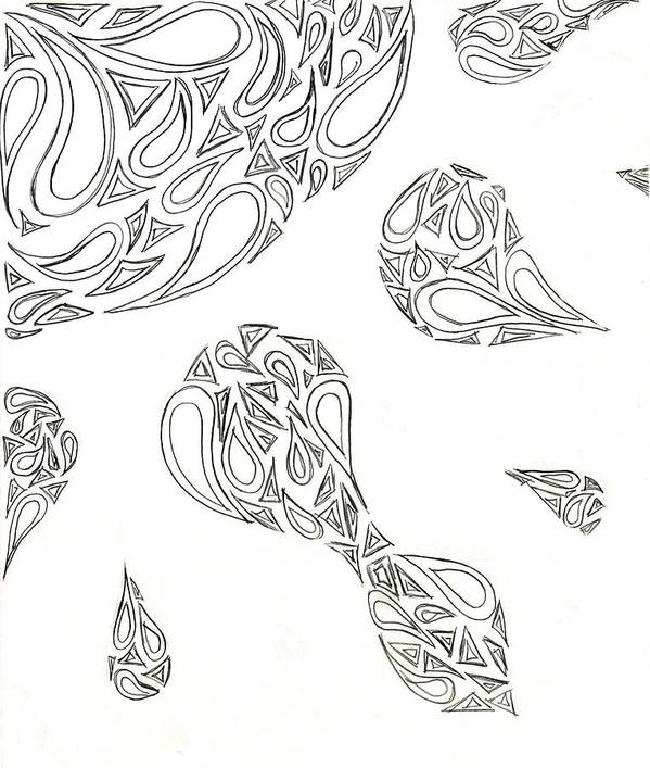 Sun Poster featuring the drawing Paisley Sun by Tessa Hunt-Woodland