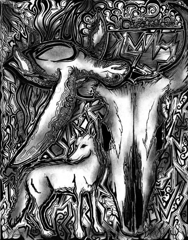 Lauren Poster featuring the drawing Palindrome Twelve by Lauren Olinger