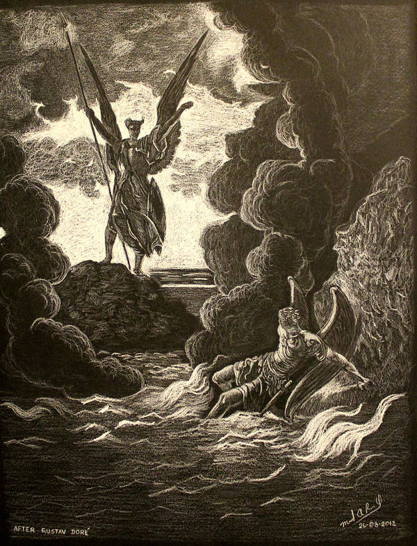 Heaven Poster featuring the drawing Paradise Lost No.12 Of 39 by Miguel Rodriguez