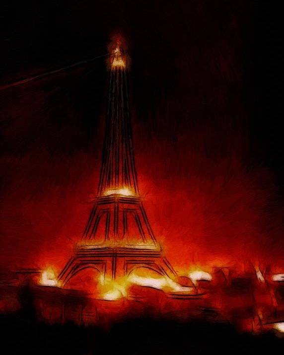 Paris France Night Nights Nightlife Eiffel Tower Light Lights Expressionism Impressionism Red Orange Yellow Glow Glowing Painting City Cityscape Monument Poster featuring the painting Paris Nights by Steve K