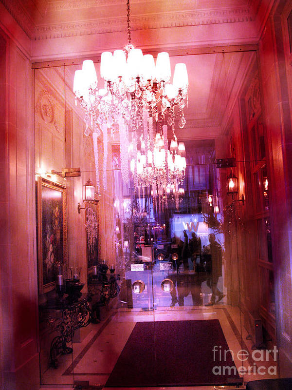 Paris Photography Poster featuring the photograph Paris Posh Pink Red Hotel Interior Chandelier by Kathy Fornal