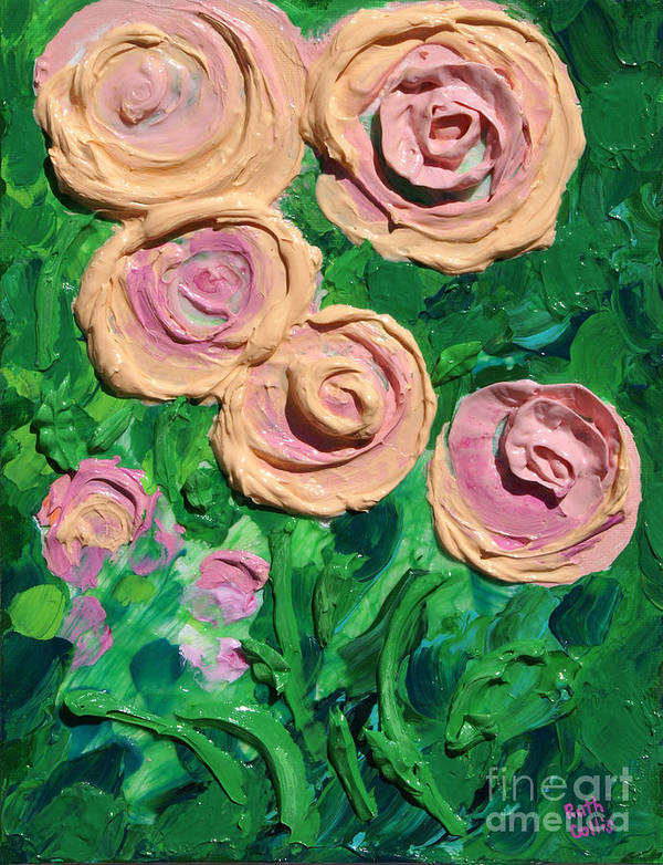 Sculpture Paint Poster featuring the painting Peachy Roses Taking Form by Ruth Collis
