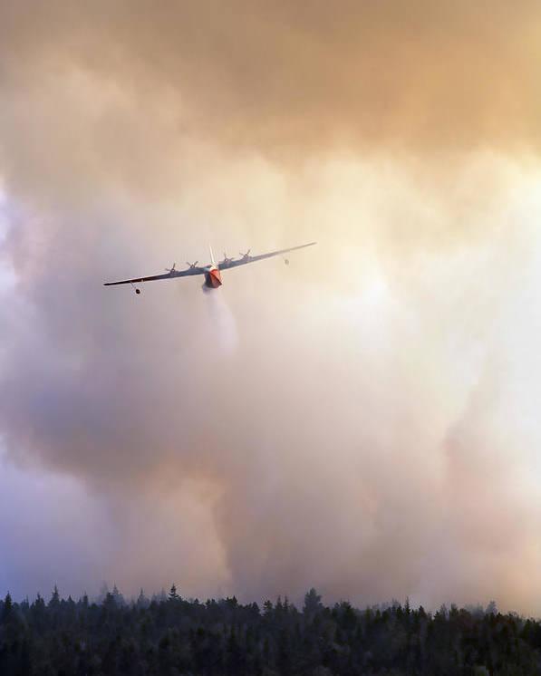 Aeroplane Poster featuring the photograph Peat Bog Fire by Kaj R. Svensson