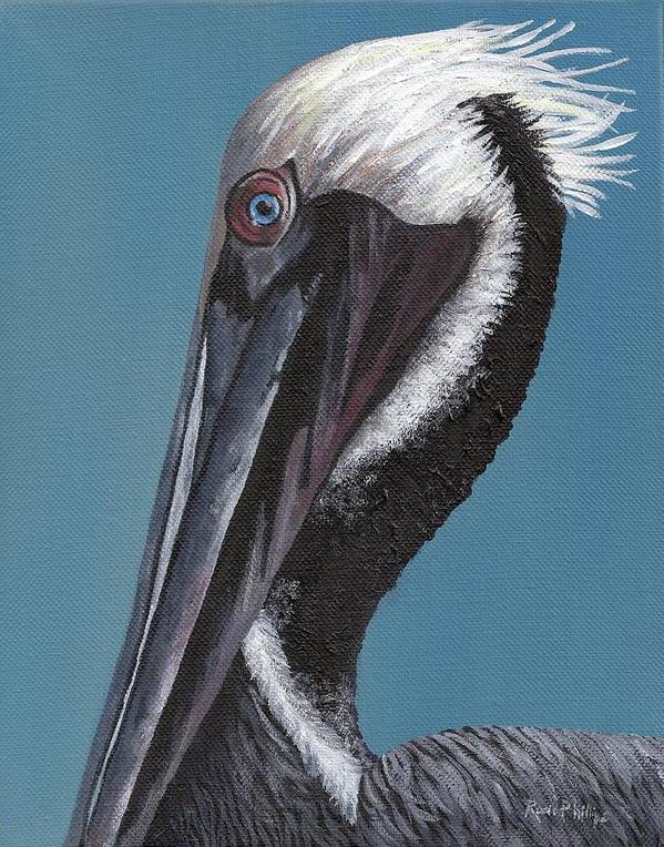 Pelican Poster featuring the painting Pelican by Rosie Phillips