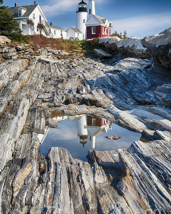 Architecture Poster featuring the photograph Pemaquid Point Reflections by George Oze