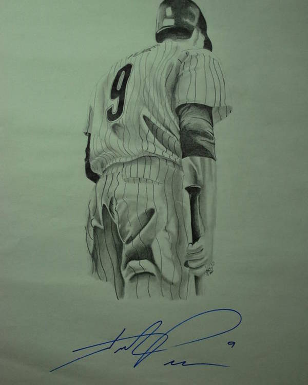 Hunter Pence Poster featuring the drawing Pence 9 by Leo Artist