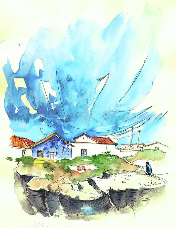 Peniche Poster featuring the painting Peniche in Portugal 04 by Miki De Goodaboom