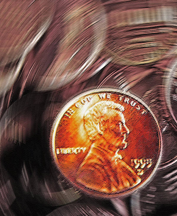 Pennies Poster featuring the photograph Pennies Abstract 2 by Steve Ohlsen