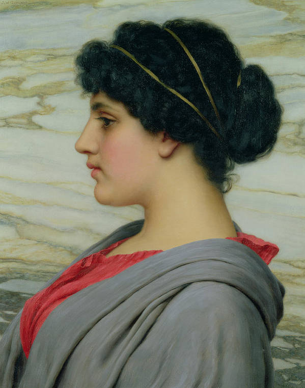 John William Godward (1861-1922) Female; Neo-classical; Seated; Profile; Ethereal; Beauty; Grecian; Beauty Poster featuring the painting Perilla by John William Godward