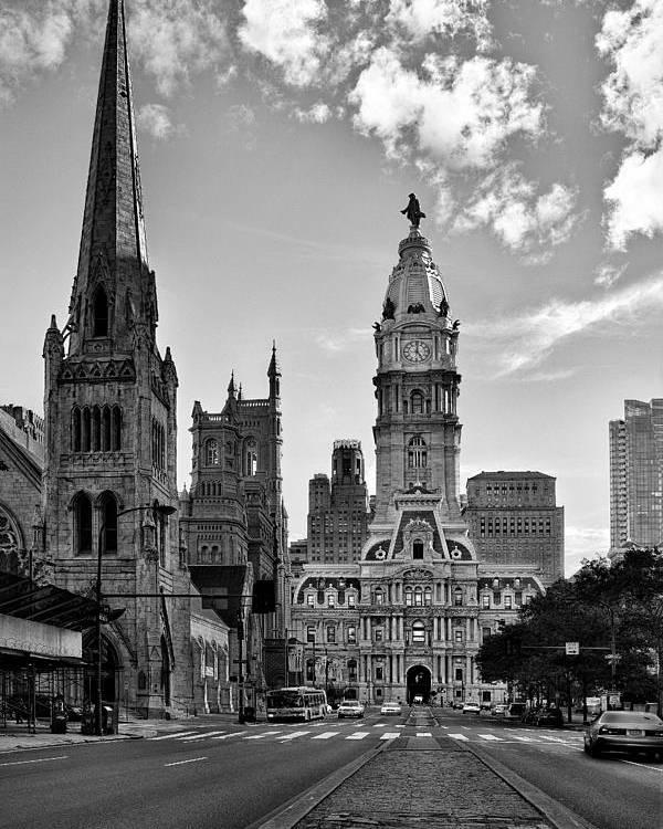 Philadelphia City Hall Poster featuring the photograph Philadelphia City Hall Bw by Susan Candelario
