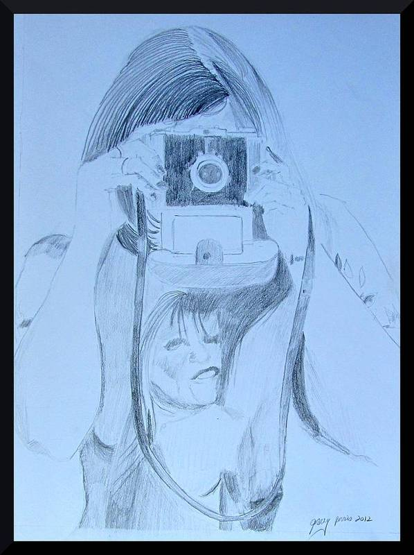 Pencil Portrait Poster featuring the painting Photographer Shoots by Gary Kirkpatrick
