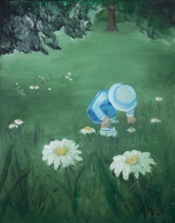 Children Poster featuring the painting Picking Flowers by Angela Stout