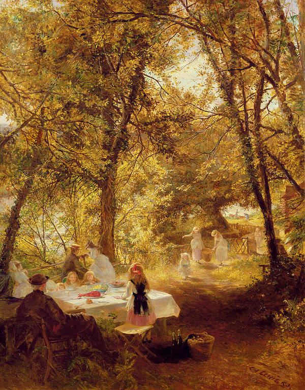 Our Picnic - New Lock Poster featuring the painting Picnic by Charles James Lewis