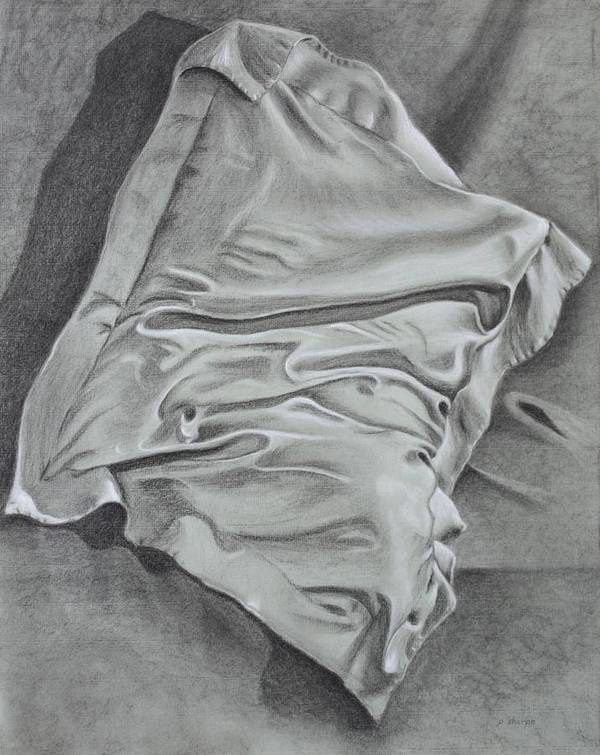 Pillow Still Life In Human Pose Poster featuring the drawing Pillow Talk by Patsy Sharpe