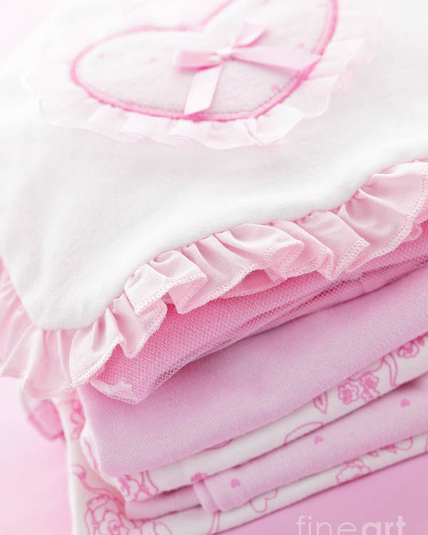 Baby Clothes Poster featuring the photograph Pink Baby Clothes For Infant Girl by Elena Elisseeva