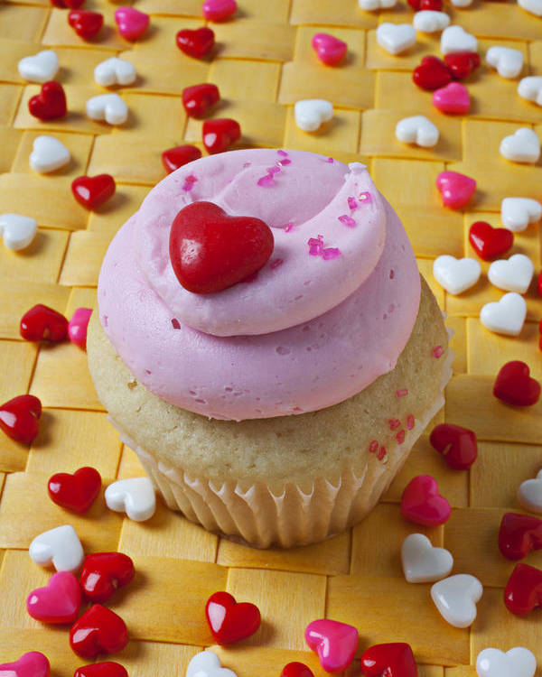 Cupcake Poster featuring the photograph Pink Cupcake With Candy Hearts by Garry Gay