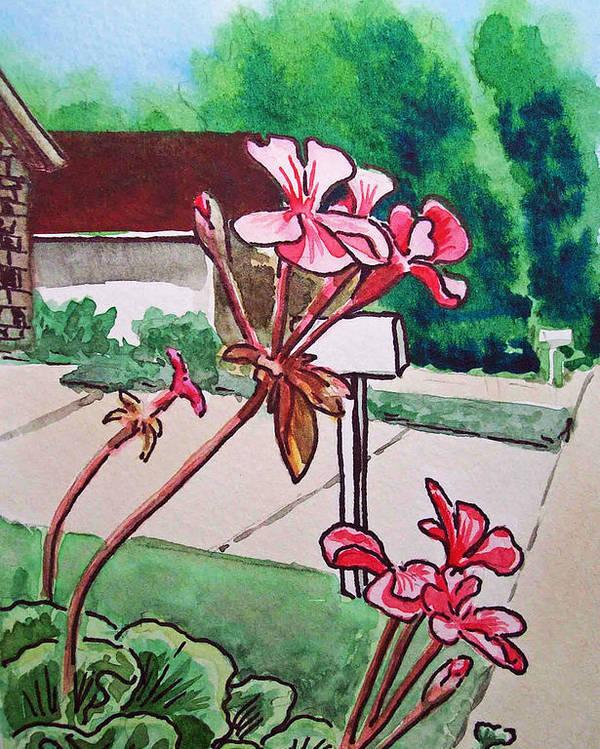 Geranium Poster featuring the painting Pink Geranium Sketchbook Project Down My Street by Irina Sztukowski