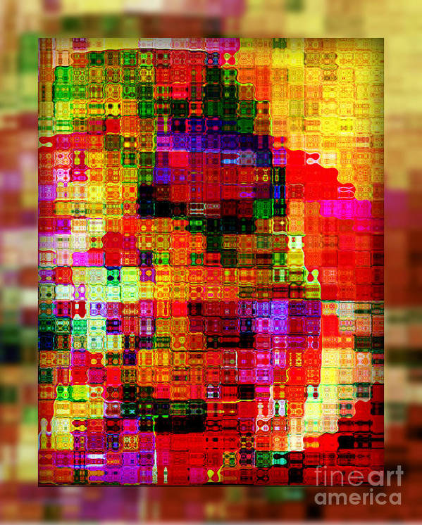 Abstract Poster featuring the digital art Pixels by Irina Hays