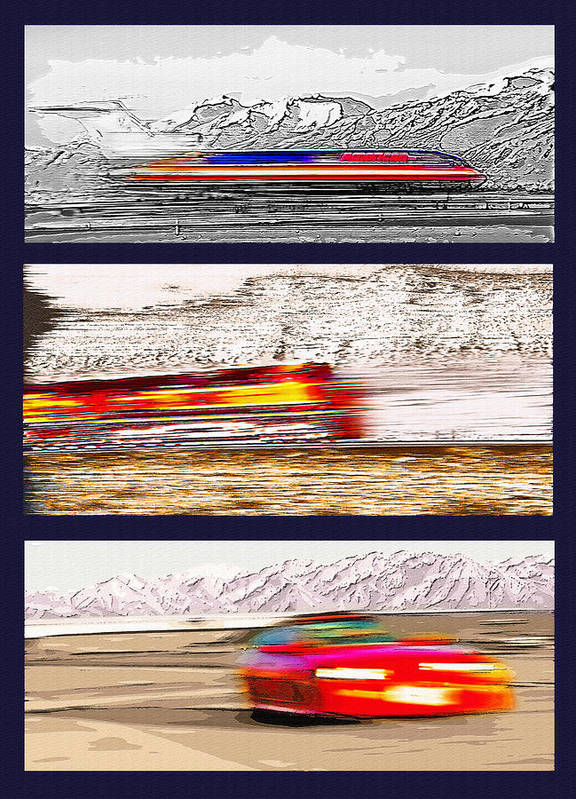 Trains Poster featuring the photograph Planes Trains Automobiles Triptych by Steve Ohlsen