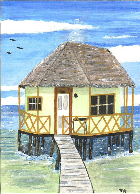 Plank Poster featuring the pyrography Plank Leads To A Hut by Sea Sons Home and Life