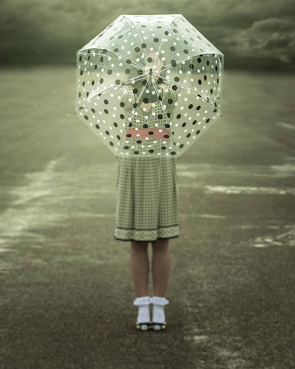Woman Poster featuring the photograph Polka Dotted Umbrella by Joana Kruse