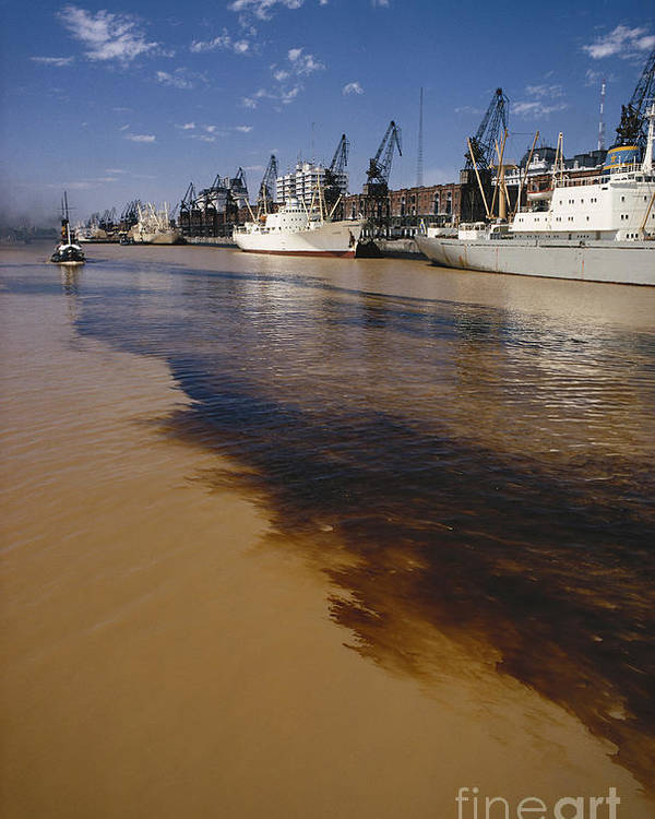 Nature Poster featuring the photograph Polluted Water, Rio De La Plata by Bernard Wolff