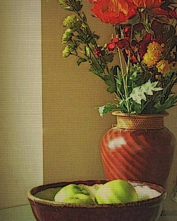 Still Life Poster featuring the photograph Poppies and apples still life by Joseph Ferguson