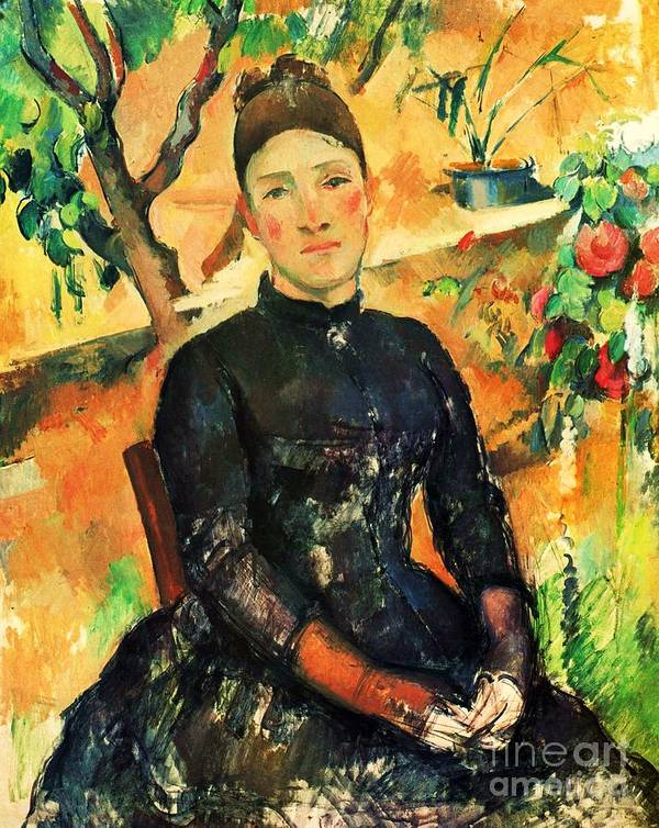 Pd Poster featuring the painting Portrait Madame Cezanne by Pg Reproductions