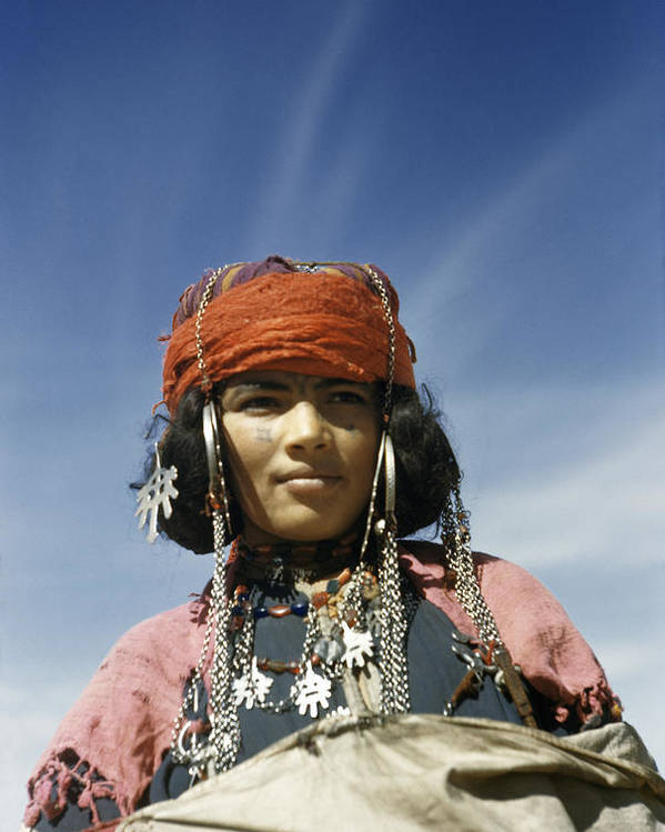 Outdoors Poster featuring the photograph Portrait Of A Nomadic North African by Maynard Owen Williams