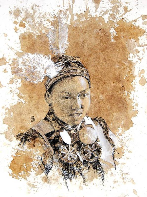 Pow Wow Art Poster featuring the drawing Pow Wow Girl by Debra Jones