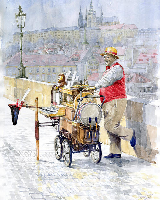 Watercolor Poster featuring the painting Prague Charles Bridge Organ Grinder-seller Happiness by Yuriy Shevchuk