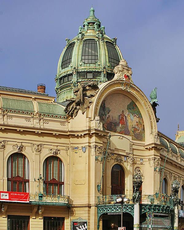 Obecni Dum Poster featuring the photograph Prague Obecni Dum - Municipal House by Christine Till