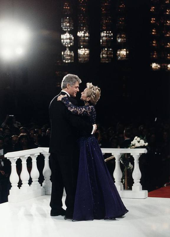 History Poster featuring the photograph President Bill Clinton And Hillary by Everett