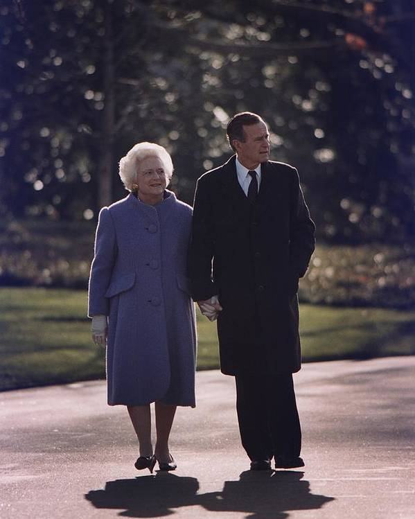 History Poster featuring the photograph President George And Barbara Bush Take by Everett