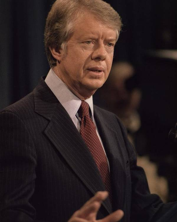 History Poster featuring the photograph President Jimmy Carter Speaking by Everett