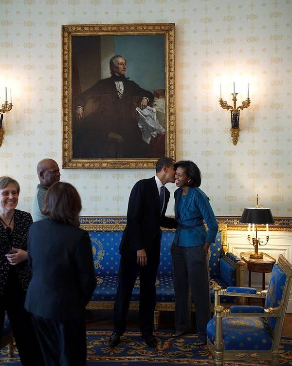 History Poster featuring the photograph President Obama Kisses First Lady by Everett